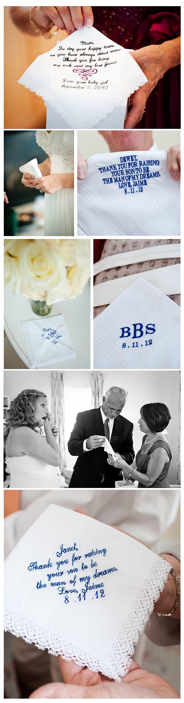 Eastern Shore Wedding Details - Personalized Handkerchiefs