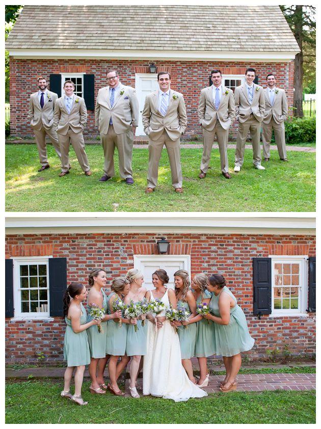 khaki groomsmen, seafoam bridesmaids