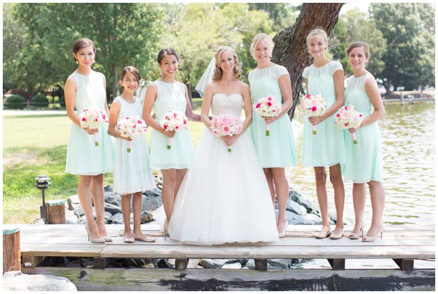 Pink and Mint Bridesmaid Dresses