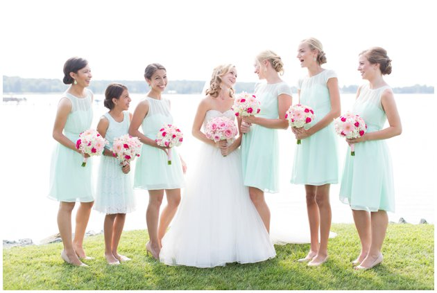 Pink & Mint Bridesmaid Dresses