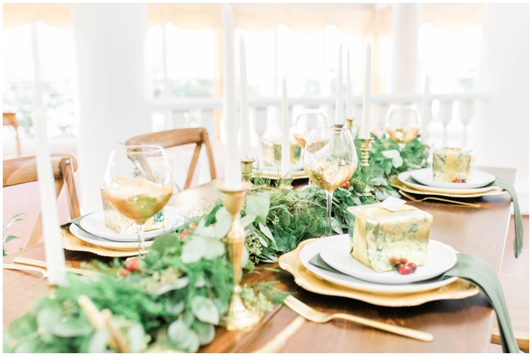 gold and green wedding table settings