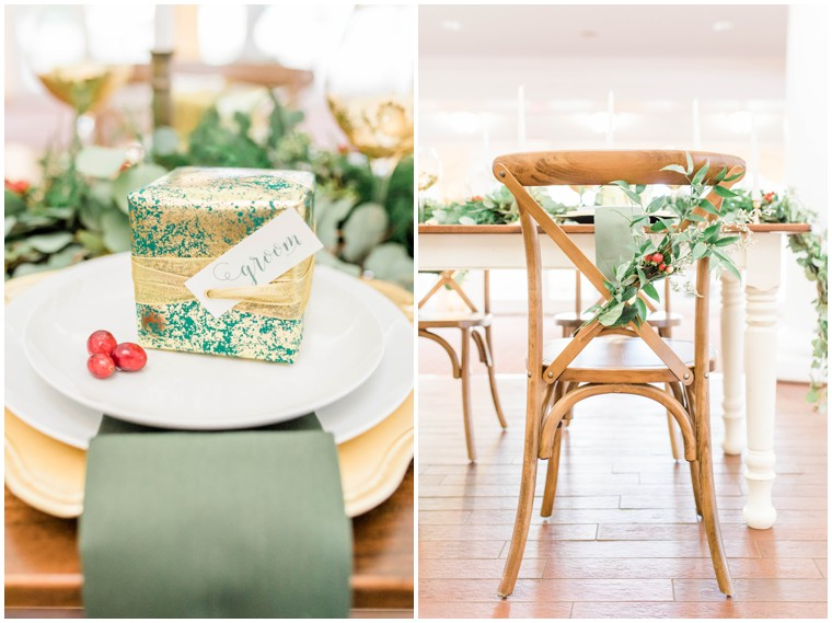gold and green wedding decor