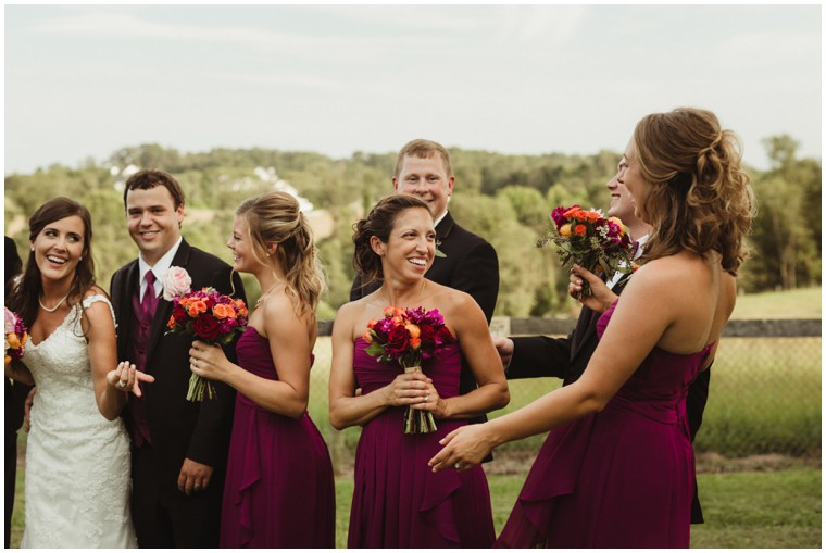 farm wedding, bridal party