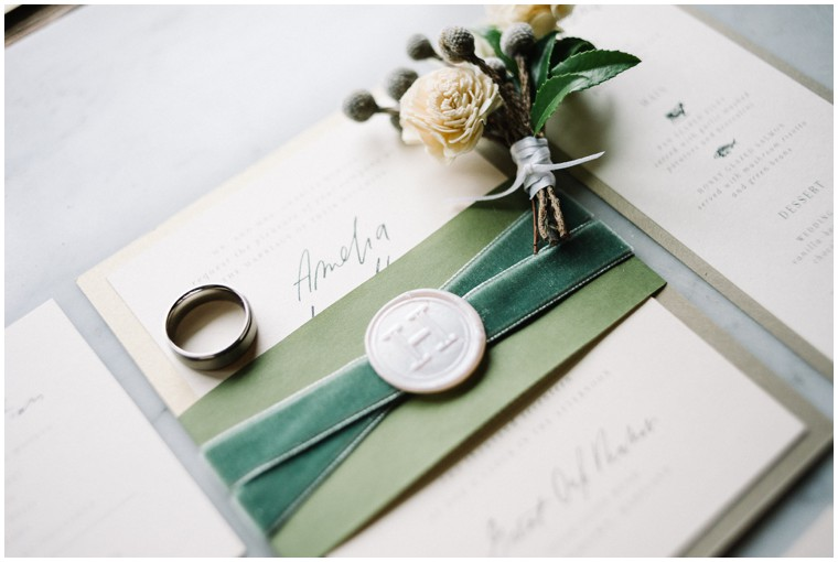 green and white wedding invitations