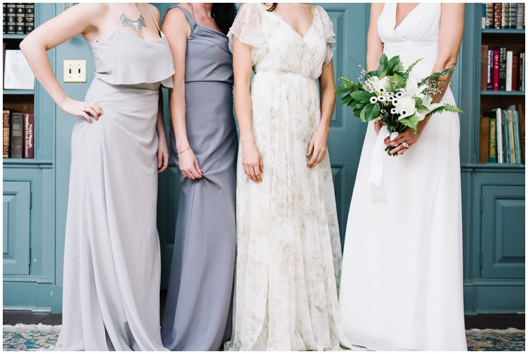green and white bridal bouquet, bridesmaids dresses