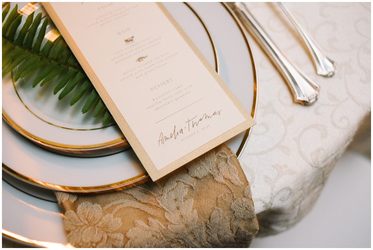 green and white reception decor, place settings, tablescape