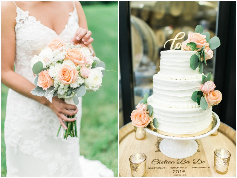 Peach Roses Bouquet, White and Peach Wedding Cake