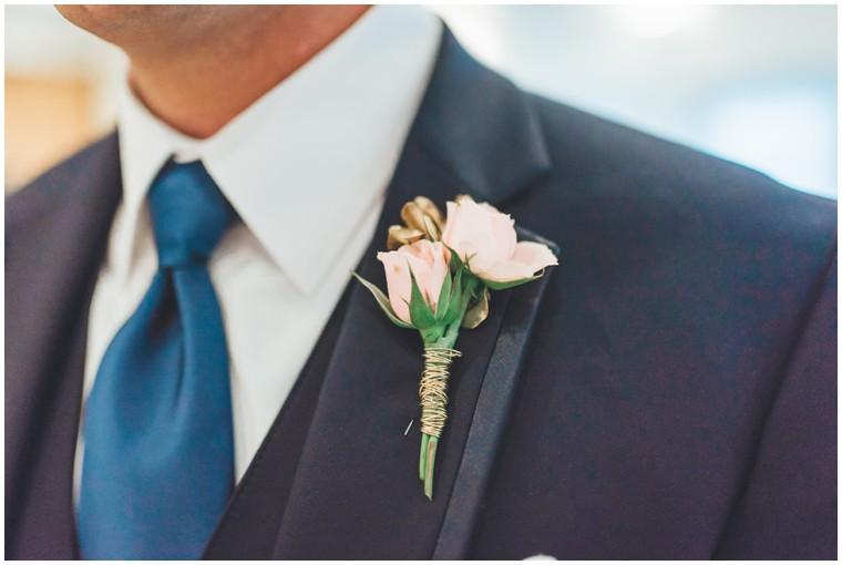 blush groomsmen boutonniere