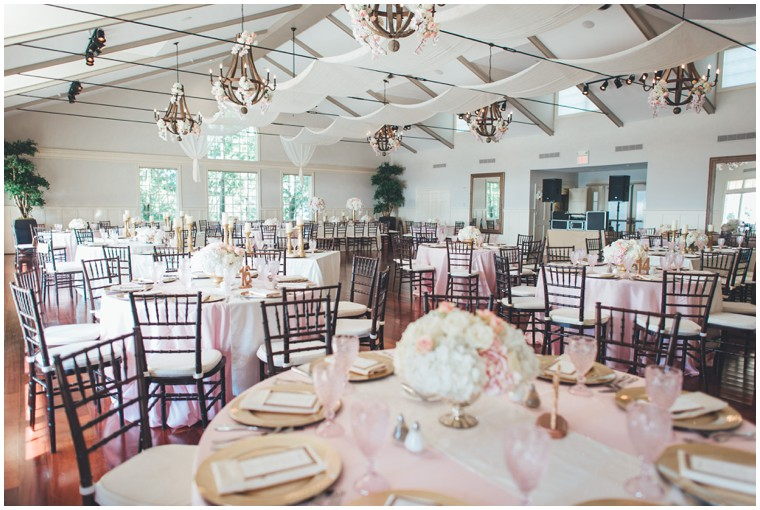 blush and gold reception at the chesapeake bay beach club