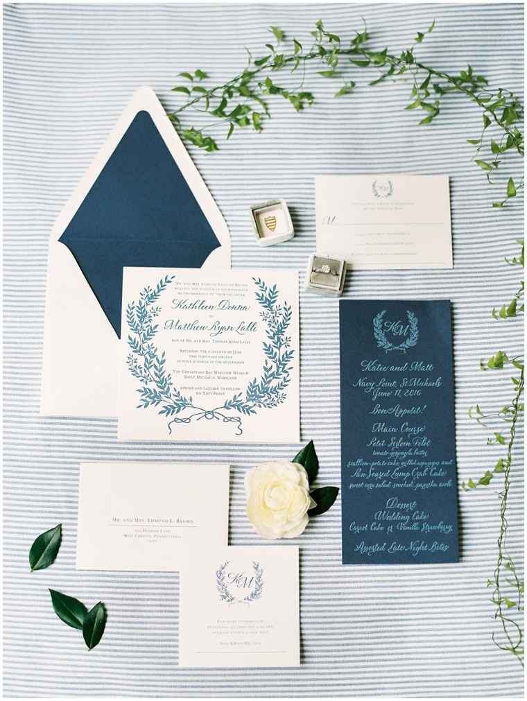 Nautical Navy and White Wedding Invitations