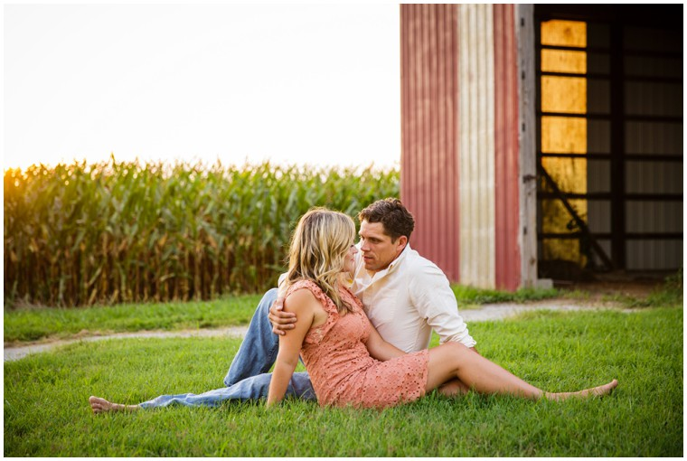 Outdoor Sunset Farm Engagement
