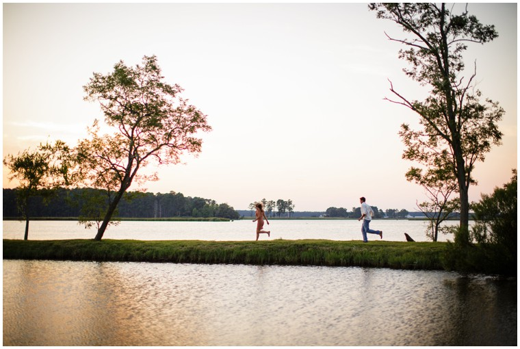 Playful Waterfront Engagement Pictures