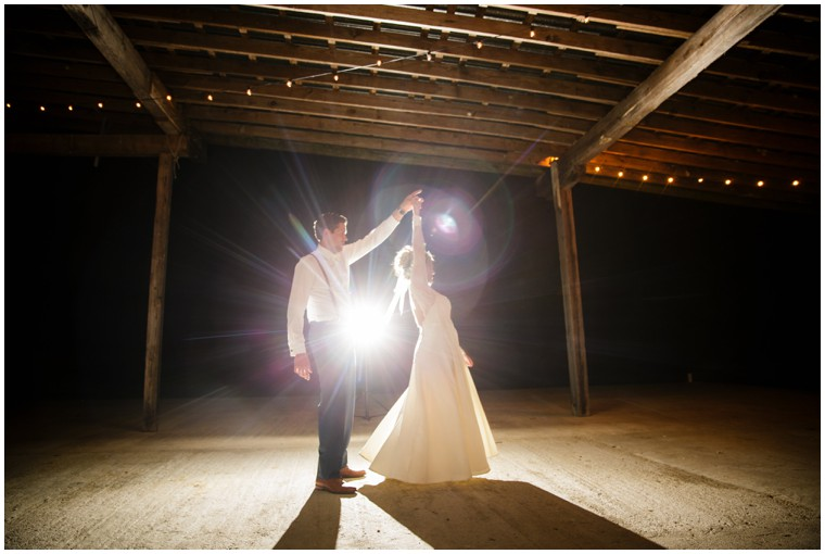 Spotlight First Dance at a Rustic Wedding Reception