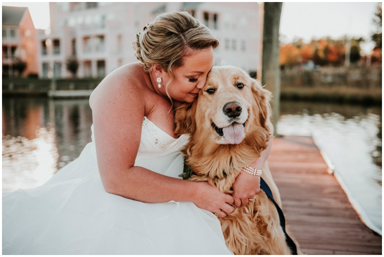 Waterfront Wedding with Golden Retriever