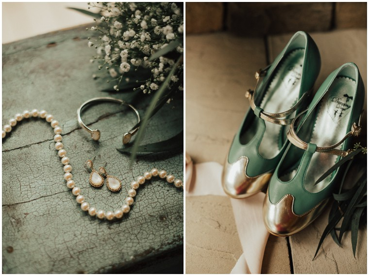 Green and Gold Bridal Accessories
