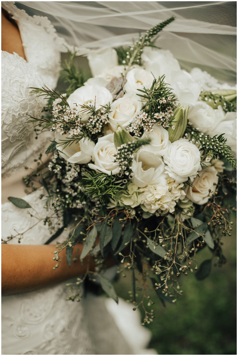 White Floral and Greenery Bridal Bouquet