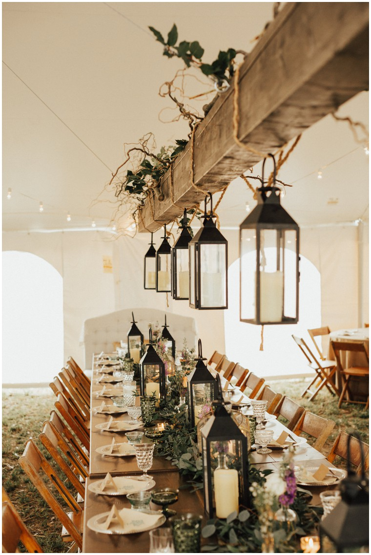 Rustic Wedding Reception Decor with Hanging Lanterns