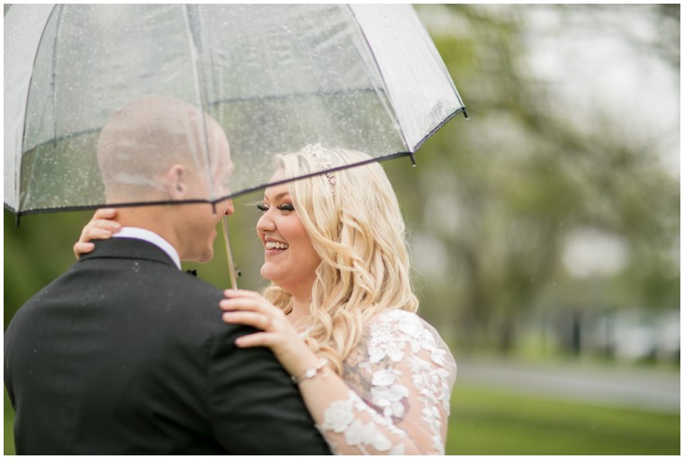 Rainy Day Wedding Portrait of Couple