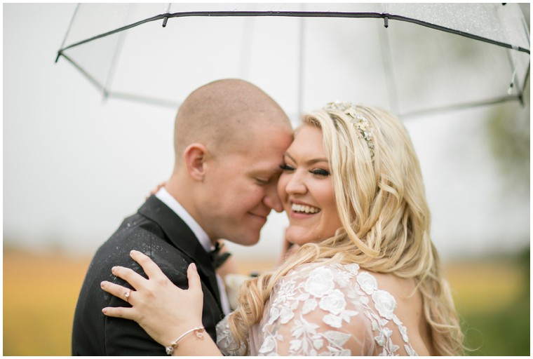 Clear Umbrella Rainy Wedding Portraits