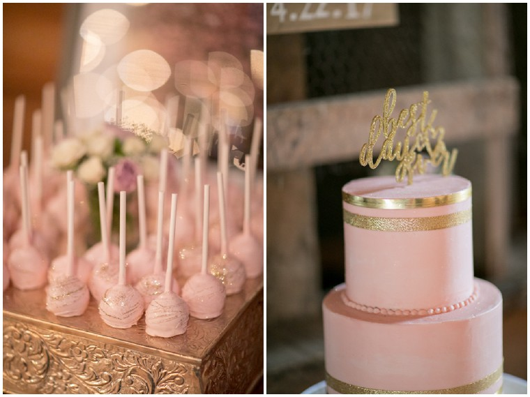 Blush and Gold Wedding Cake and Dessert