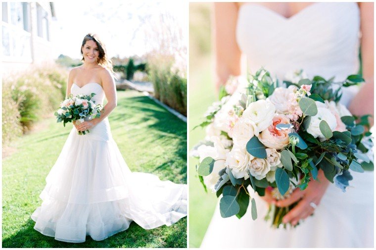 blush and green bridal bouquet