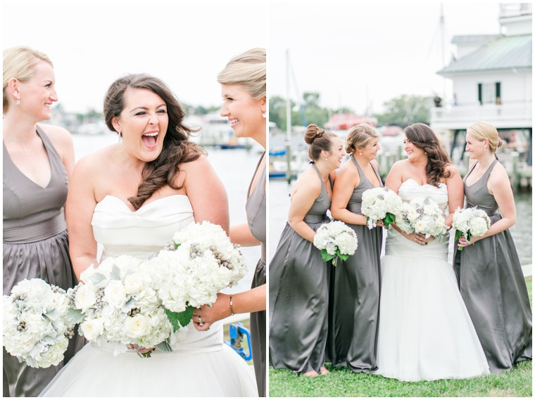 grey bridesmaid dresses, bridal party, maid of honor portraits