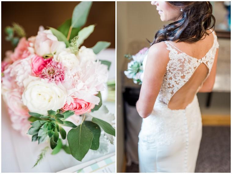 lace wedding gown, bridal bouquet