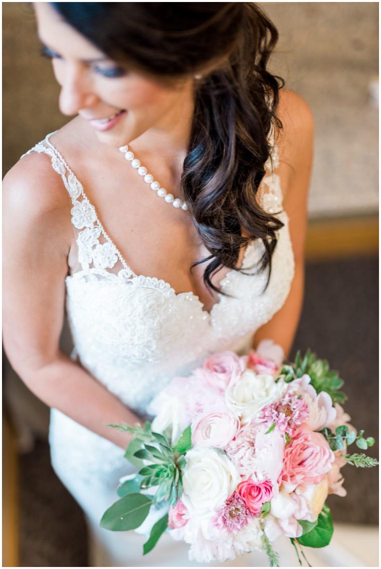 lace wedding gown, bridal bouquet, blush and white bridal bouquet