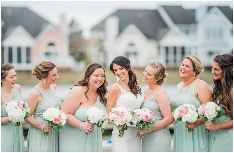 bridal party, mint bridesmaid dresses