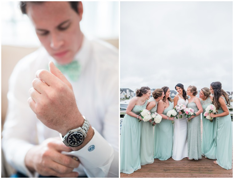 mint and white wedding, bridal party