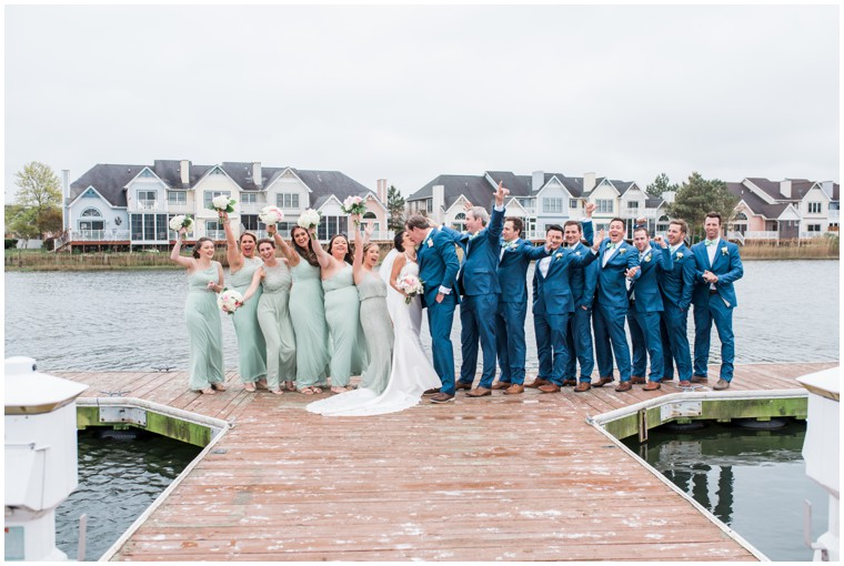 bridal party photography, blue and white wedding, mint bridesmaid dresses