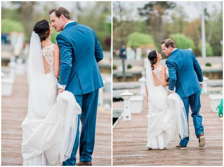 blue and white wedding, wedding portraits, newlywed pictures