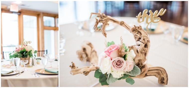 blue and white wedding. driftwood decor