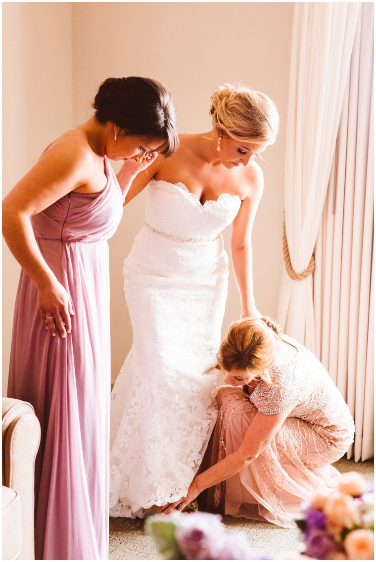 wedding dress with maid of honor and mother of the bride