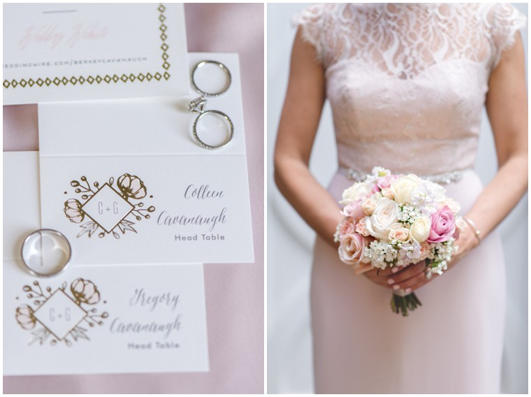 wedding place cards, wedding bands, blush bridesmaid dresses