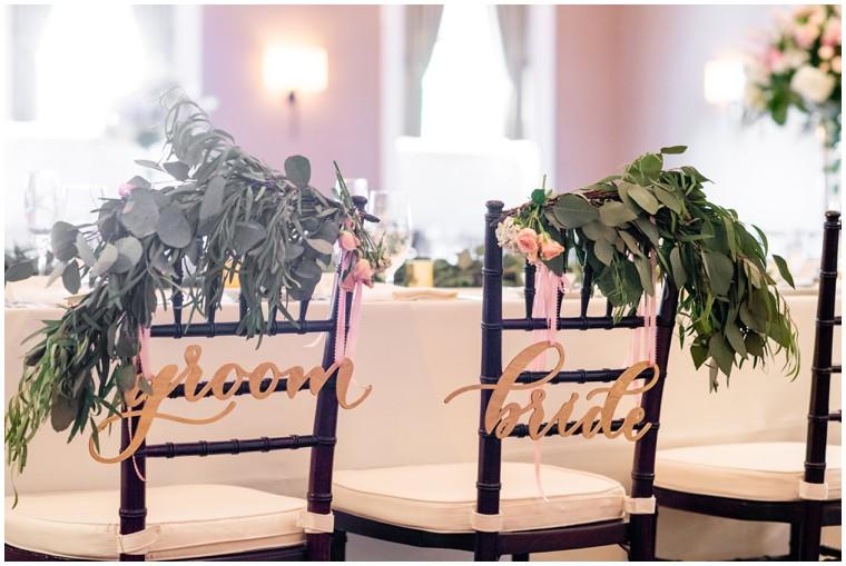 Tidewater Wedding Reception, newlywed table