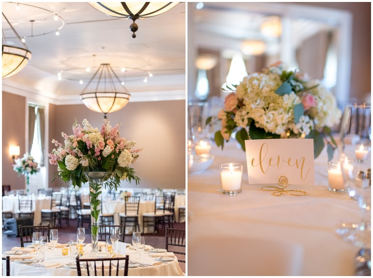 Tidewater Wedding Reception, blush and white tablescape, Tidewater Wedding
