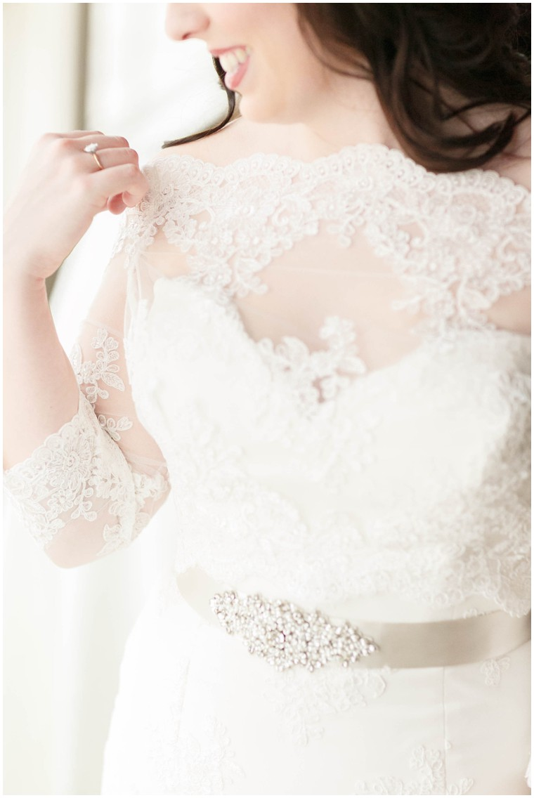 romantic sleeved lace wedding dress