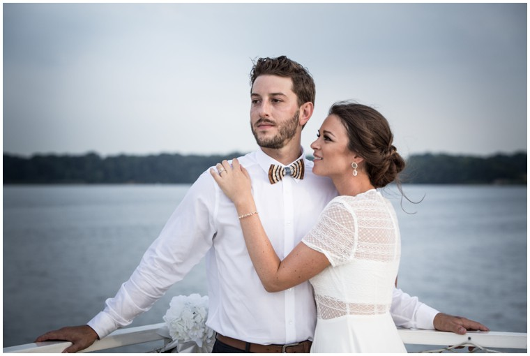 Bride and Groom on the Chester River Packet