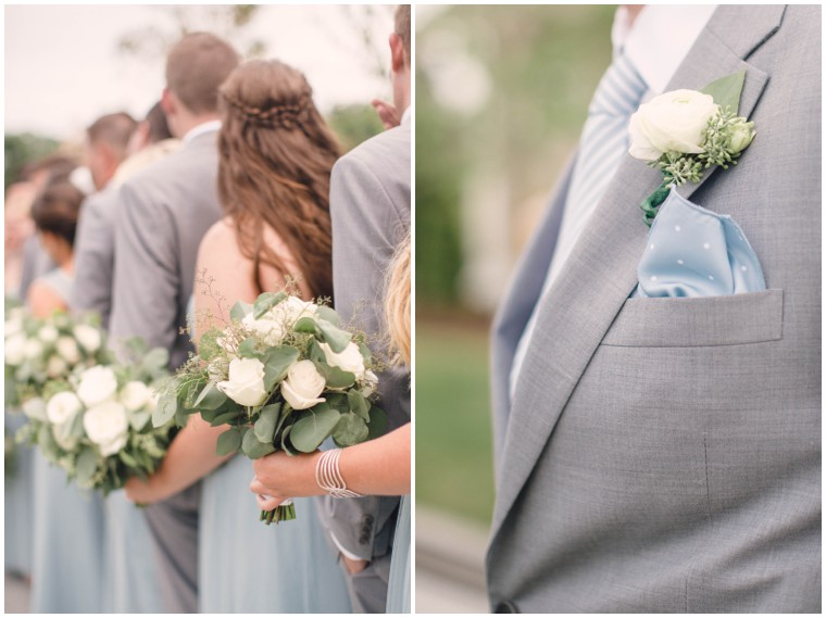 dusty blue and grey wedding details