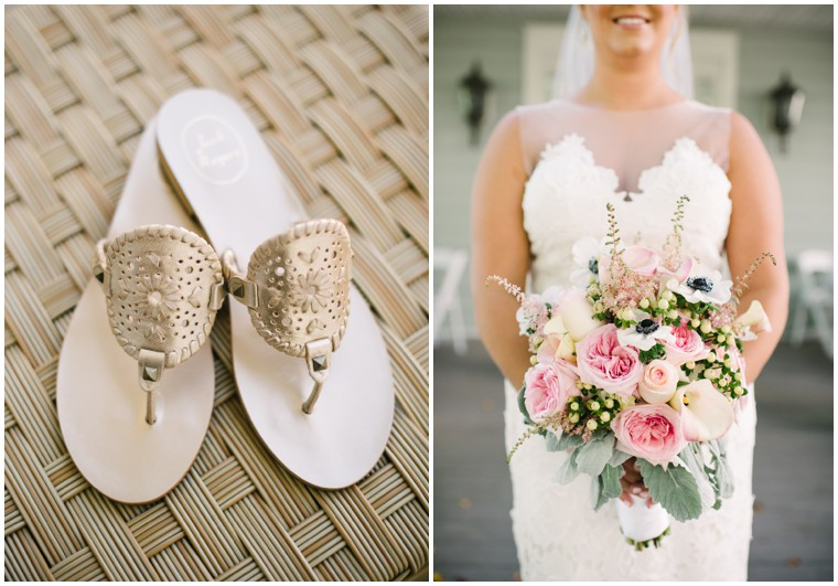 gold bridal sandals, blush and white bridal bouquet