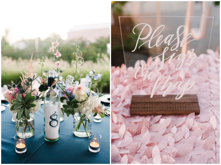 navy and blush wedding details