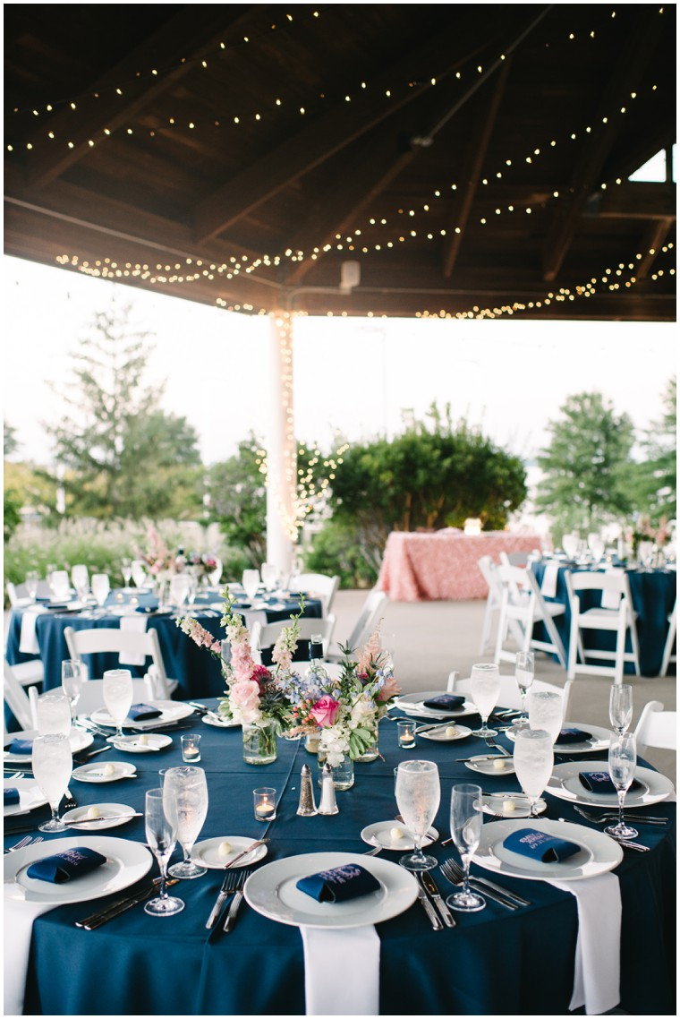 navy and pink wedding reception pavilion