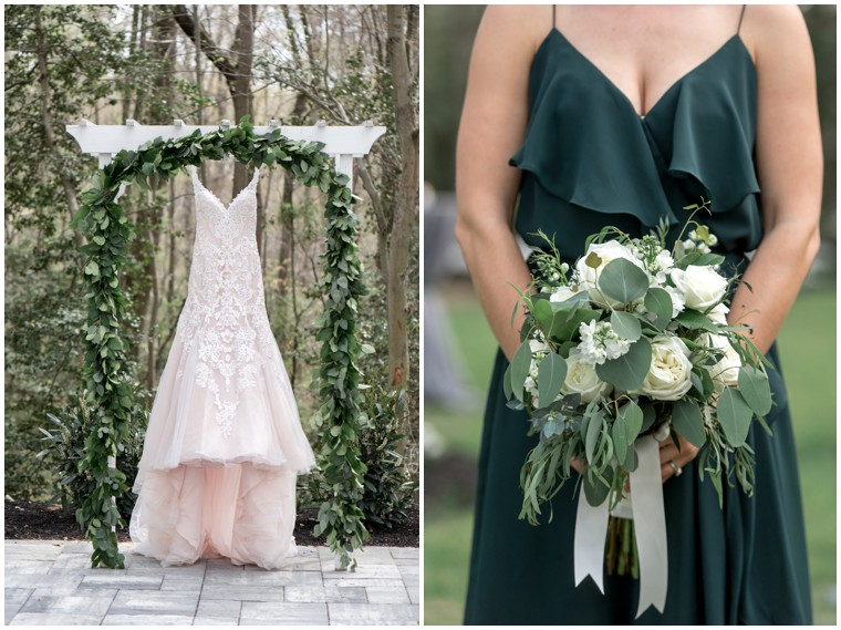 green and white wedding details