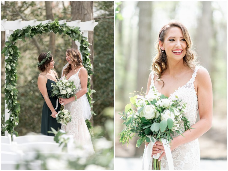greenery and white bridal bouquet, lace bridal gown