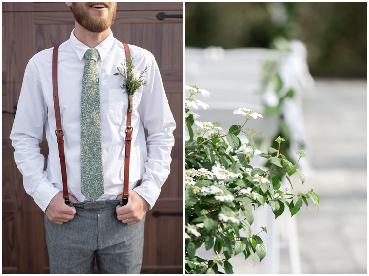 green and white groomsmen tie