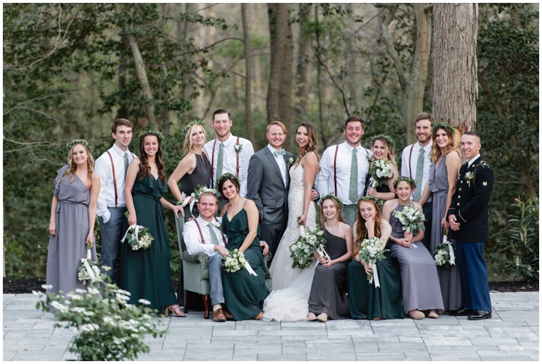 green and grey bridal party