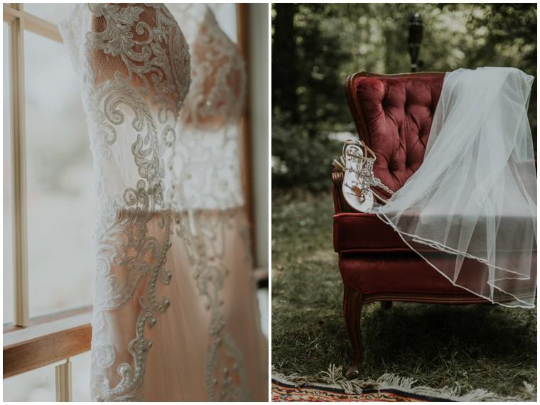 lace wedding dress details
