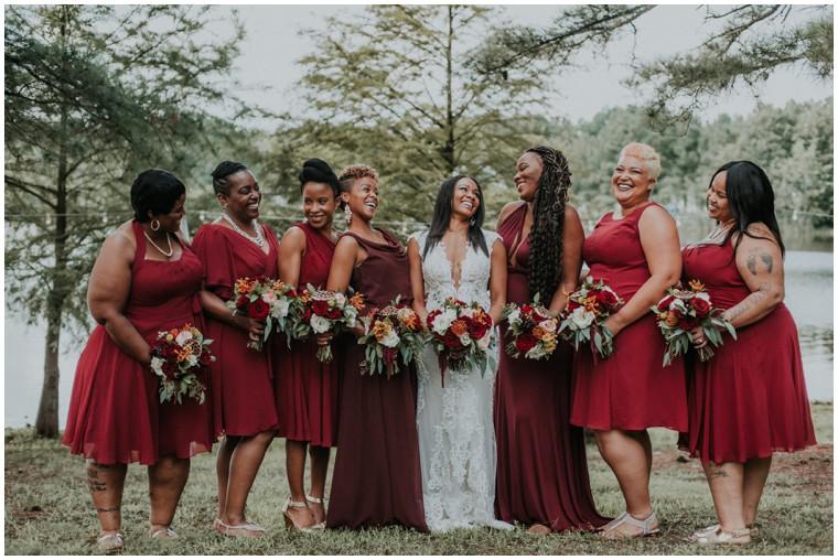 burgundy and oxblood bridesmaid dresses