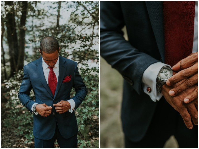 navy and burgundy grooms suit
